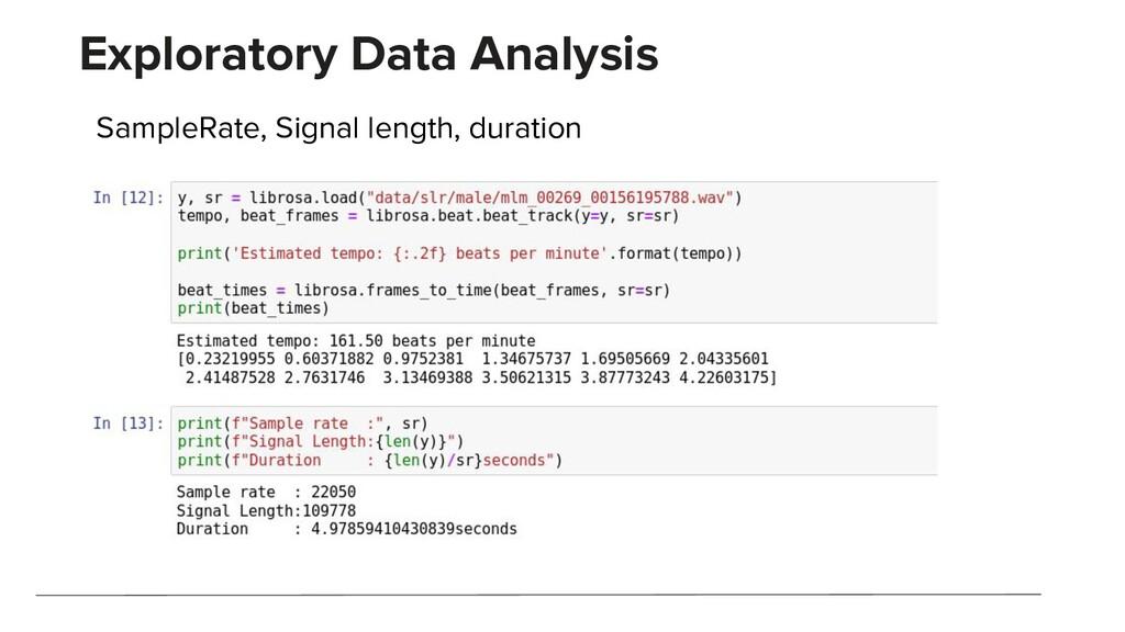 Exploratory Data Analysis SampleRate, Signal le...