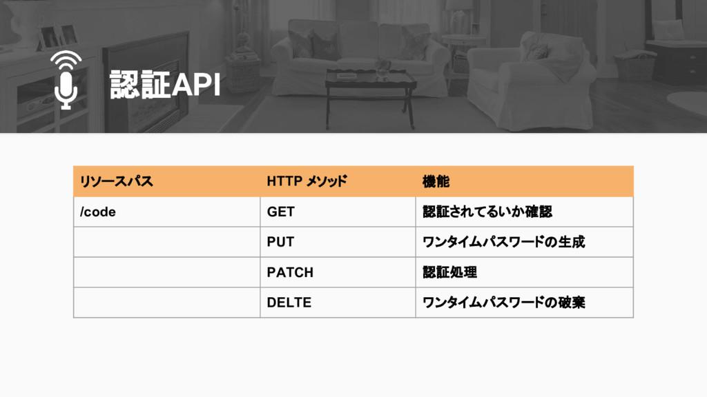 認証API リソースパス HTTP メソッド 機能 /code GET 認証されてるいか確認 ...