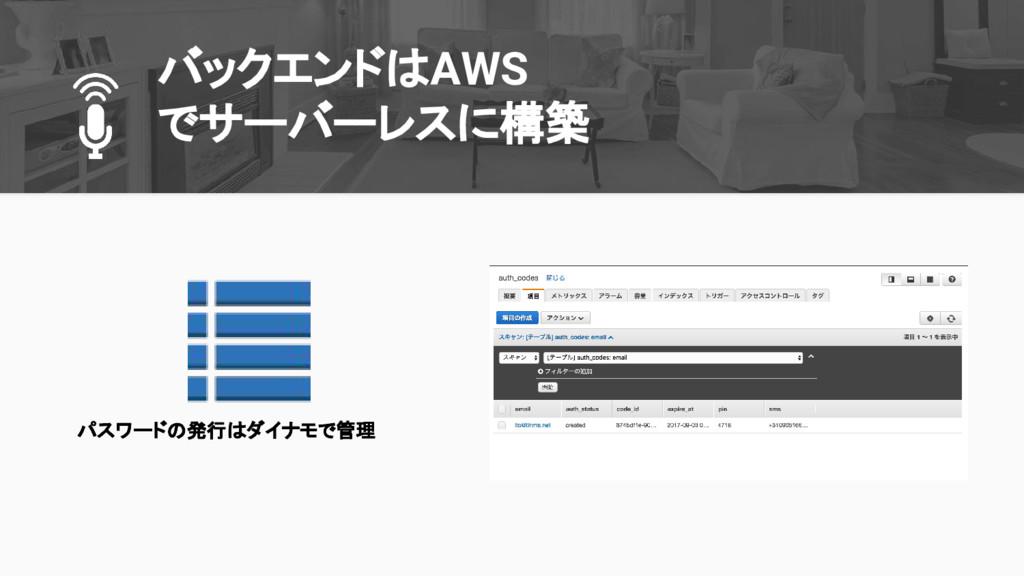 バックエンドはAWS でサーバーレスに構築 パスワードの発行はダイナモで管理