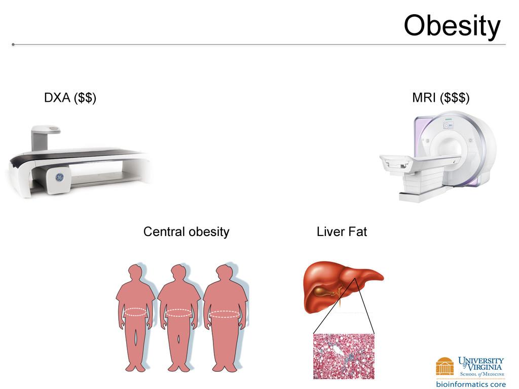 Obesity Central obesity Liver Fat DXA ($$) MRI ...