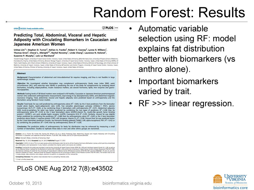 Random Forest: Results • Automatic variable se...
