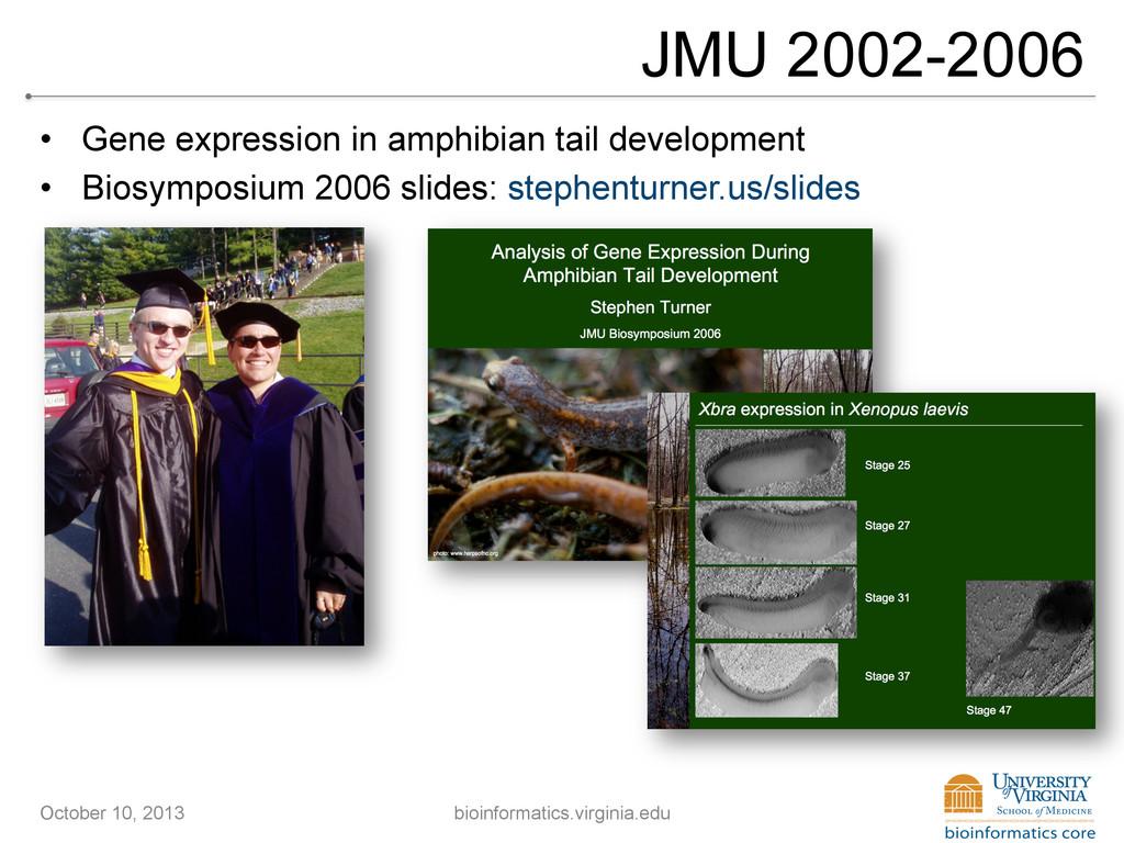 JMU 2002-2006 • Gene expression in amphibian t...