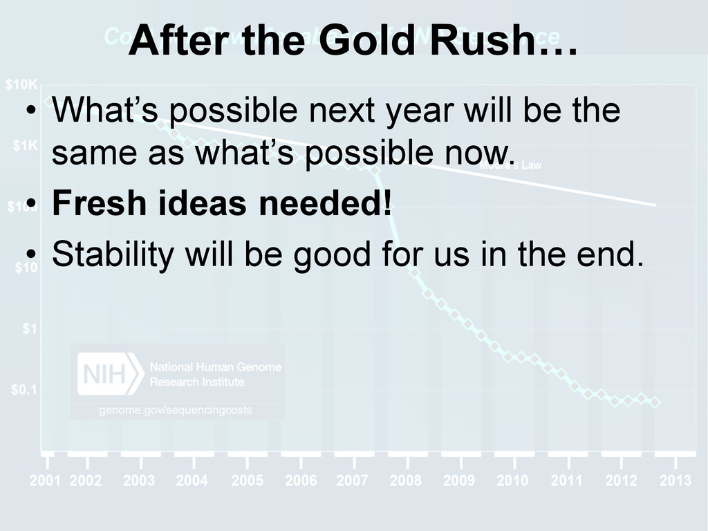 After the Gold Rush… • What's possible next ye...