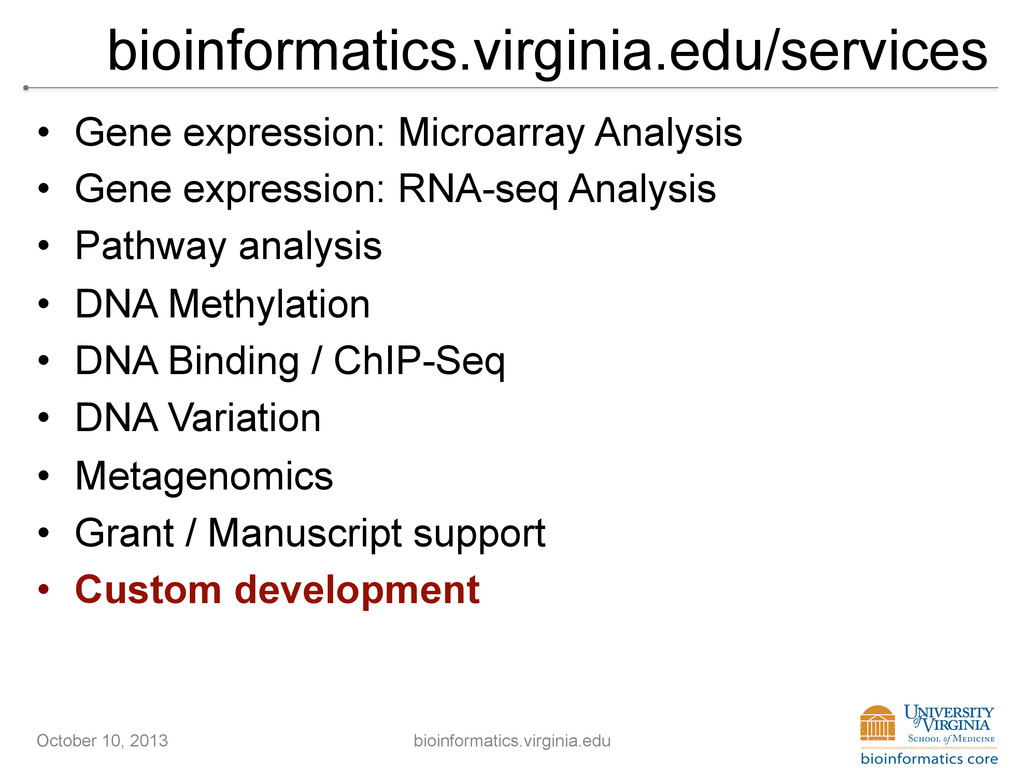bioinformatics.virginia.edu/services • Gene ex...
