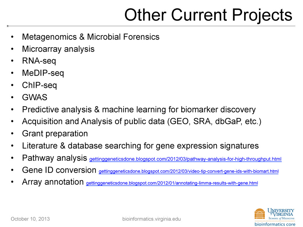 Other Current Projects • Metagenomics & Microb...