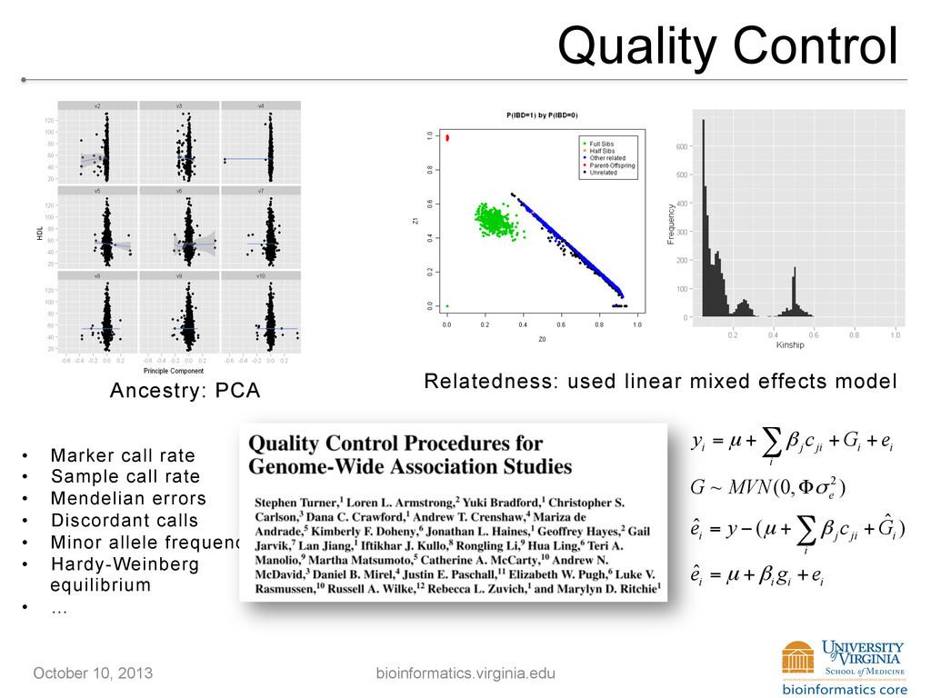 Quality Control i j ji i i i y c G e µ β = + + ...