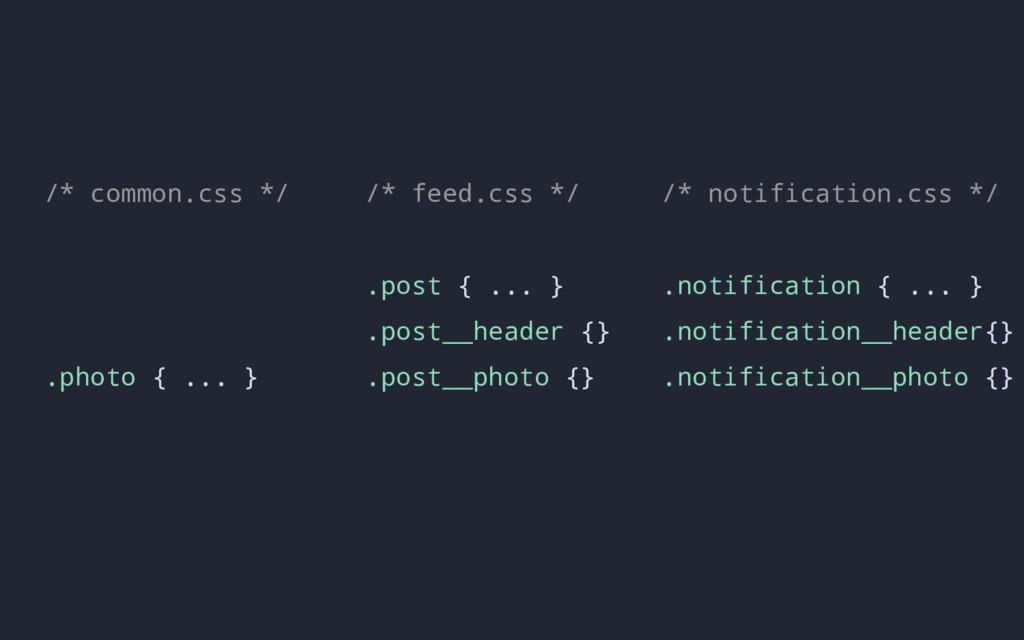 /* feed.css */ .post { ... } .post__header {} ....