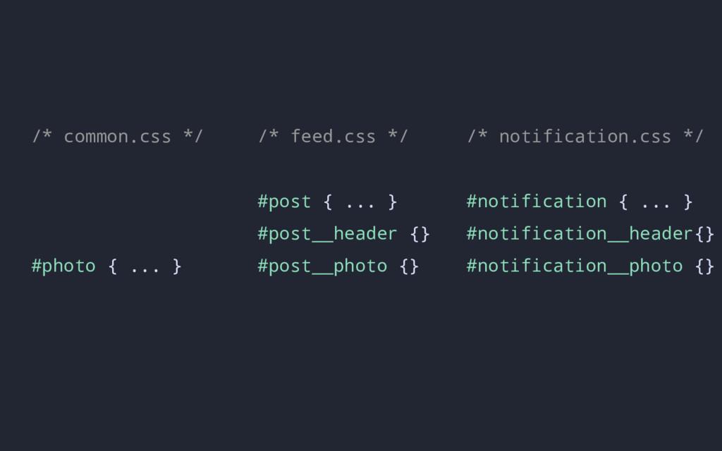 /* feed.css */ #post { ... } #post__header {} #...