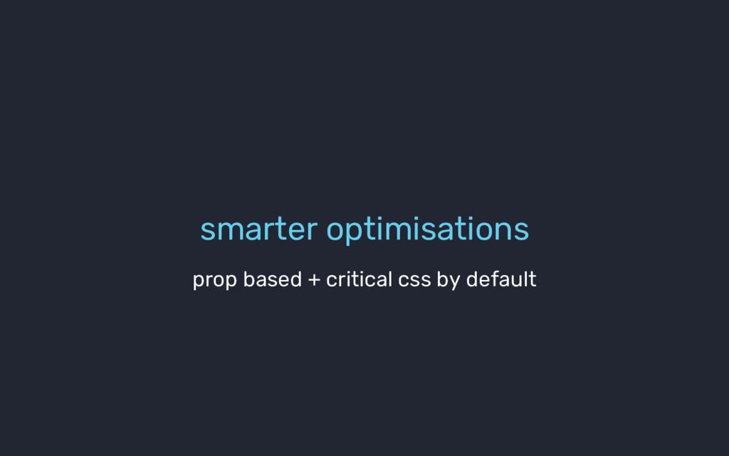 smarter optimisations prop based + critical css...