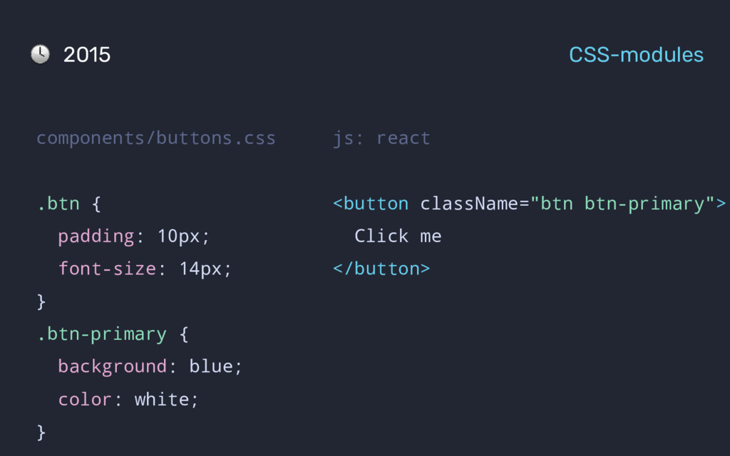 """js: react <button className=""""btn btn-primary""""> ..."""
