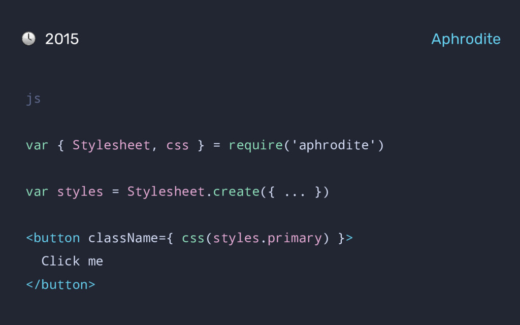 js var { Stylesheet, css } = require('aphrodite...