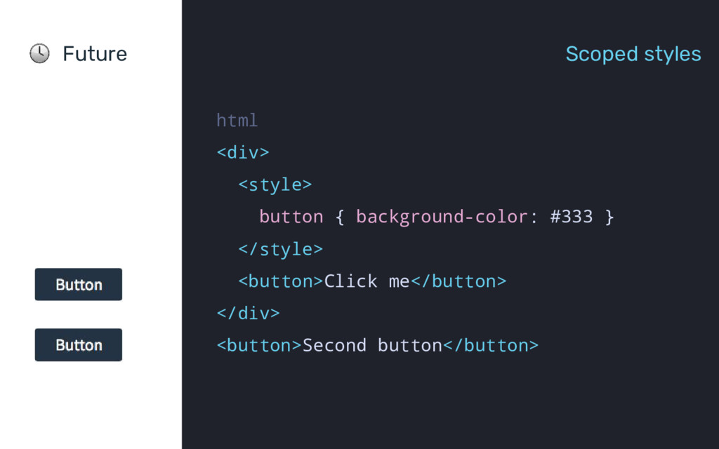 Future Scoped styles html <div> <style> button ...