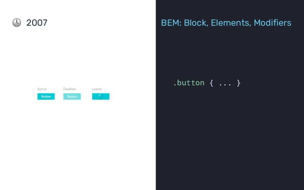 2007 BEM: Block, Elements, Modifiers .button { ...