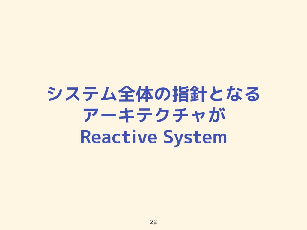 システム全体の指針となる アーキテクチャが Reactive System
