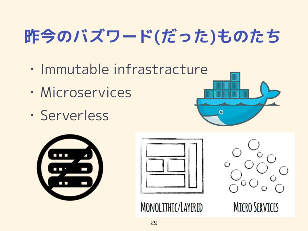 昨今のバズワード(だった)ものたち • Immutable infrastracture • ...