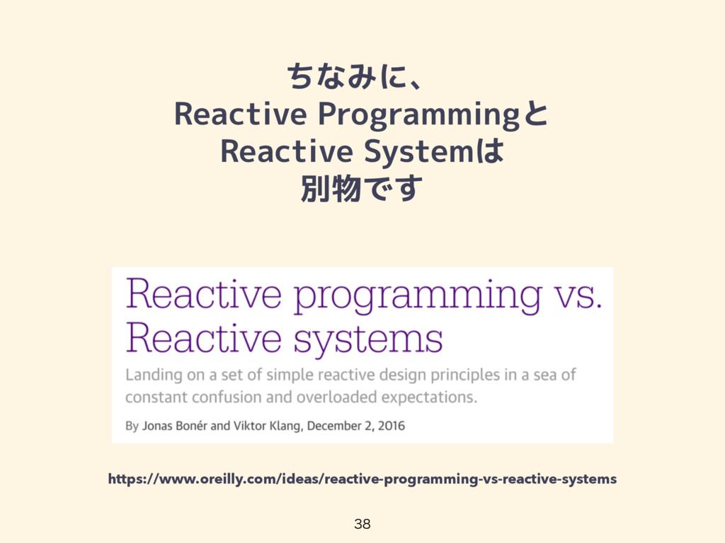 ちなみに、 Reactive Programmingと Reactive Systemは 別物...