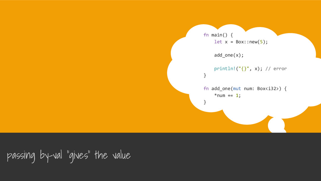 fn main() { let x = Box::new(5); add_one(x); pr...