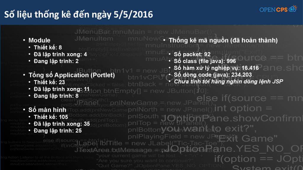 ● Module ● Thiết kế: 8 ● Đã lập trình xong: 4 ●...