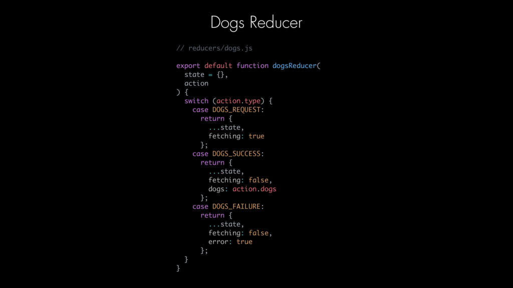 // reducers/dogs.js export default function dog...