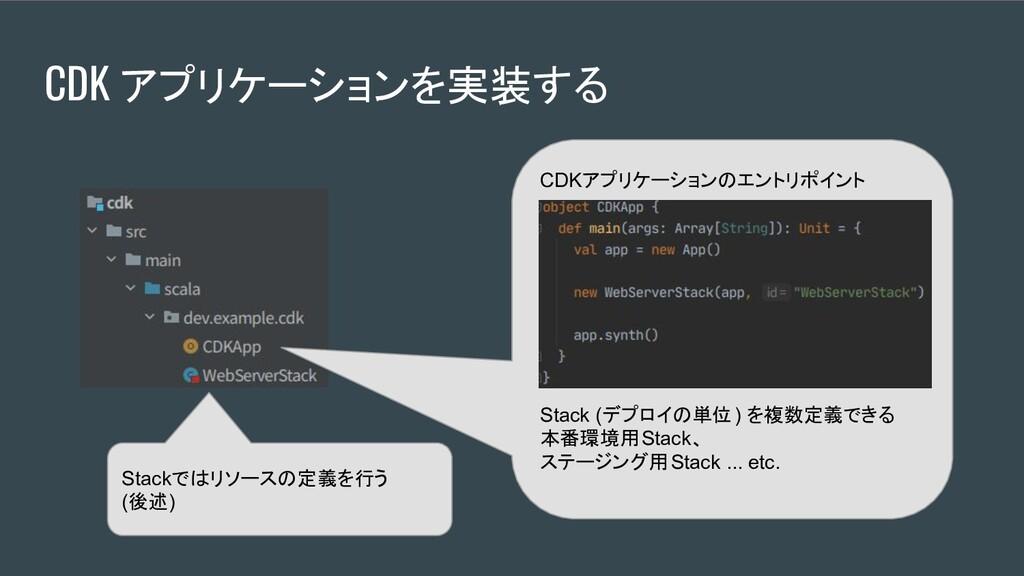 CDKアプリケーションのエントリポイント Stack (デプロイの単位) を複数定義できる 本...