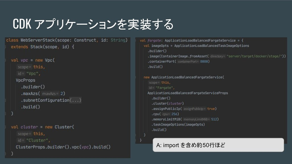 A: import を含め約50行ほど CDK アプリケーションを実装する
