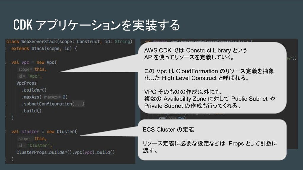 AWS CDK では Construct Library という APIを使ってリソースを定義...