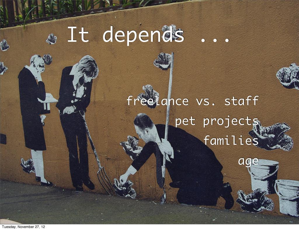 It depends ... freelance vs. staff pet projects...