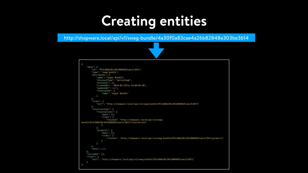 Creating entities http://shopware.local/api/v1/...