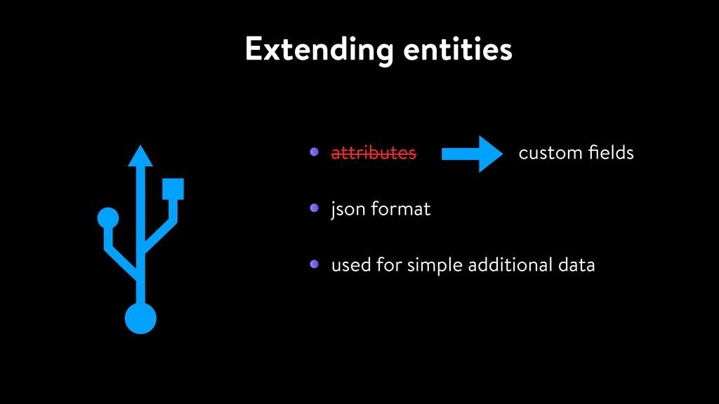 Extending entities attributes custom fields json...