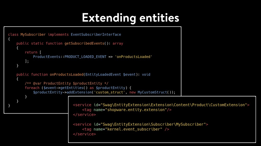 Extending entities