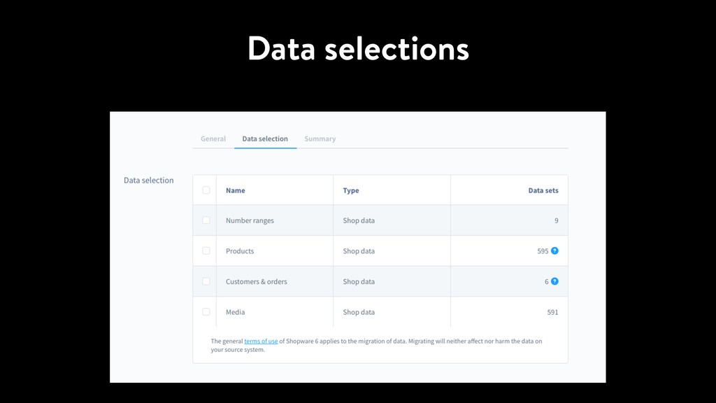 Data selections