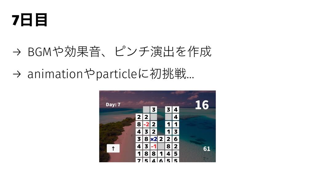 7 → BGMޮՌԻɺϐϯνԋग़Λ࡞ → animationparticleʹॳઓ…