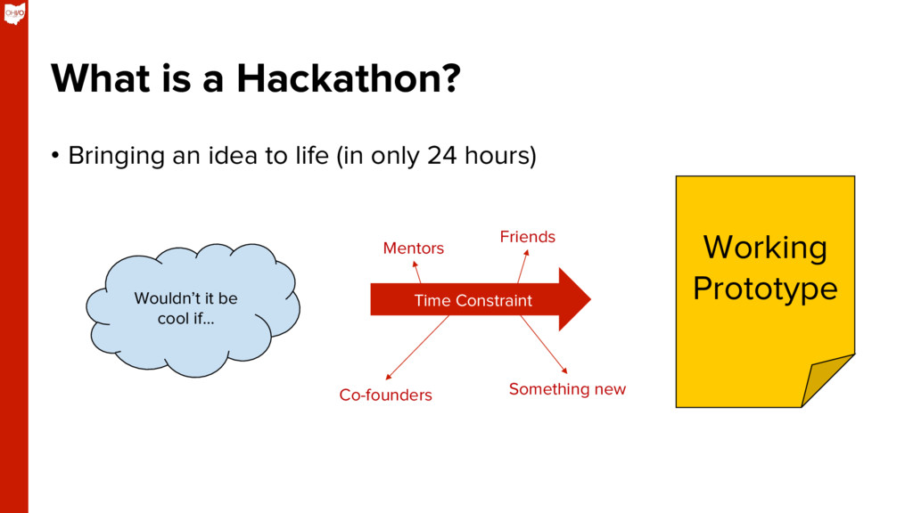 What is a Hackathon? •  Bringing an idea to lif...