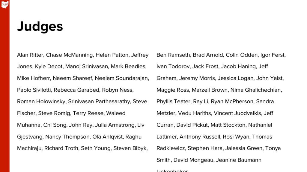Judges Alan Ritter, Chase McManning, Helen Patt...