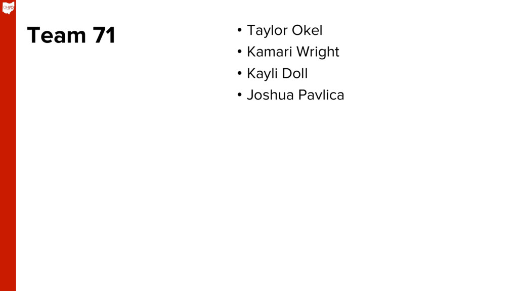 Team 71 • Taylor Okel • Kamari Wright • Kayl...