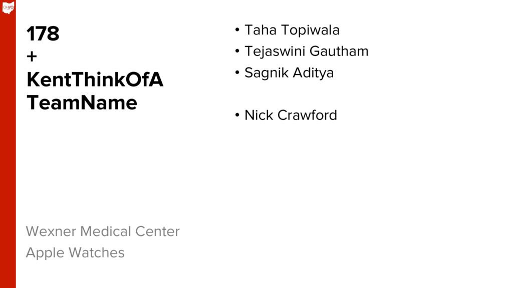 178 + KentThinkOfA TeamName • Taha Topiwala •...