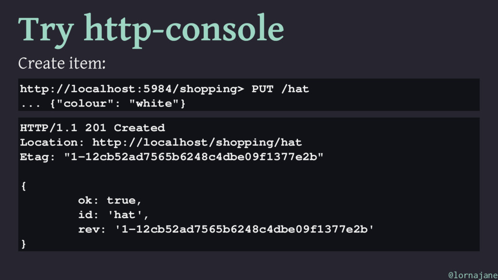 Try http-console Create item: http://localhost:...
