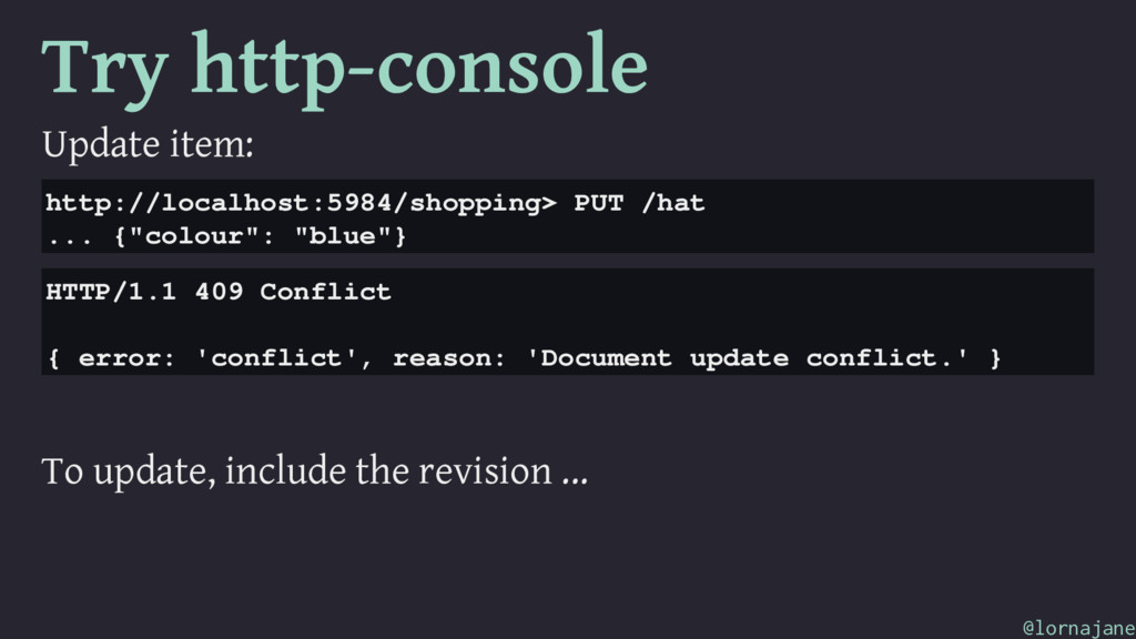 Try http-console Update item: http://localhost:...