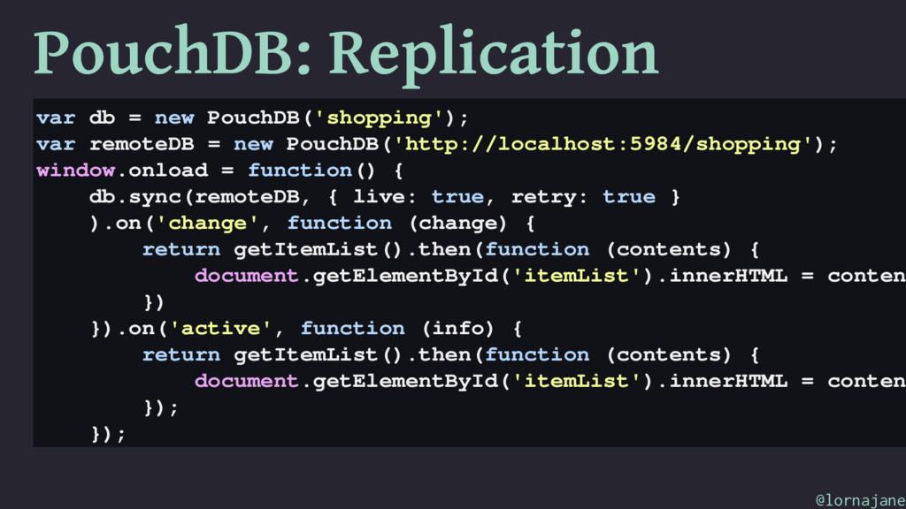 PouchDB: Replication var db = new PouchDB('shop...