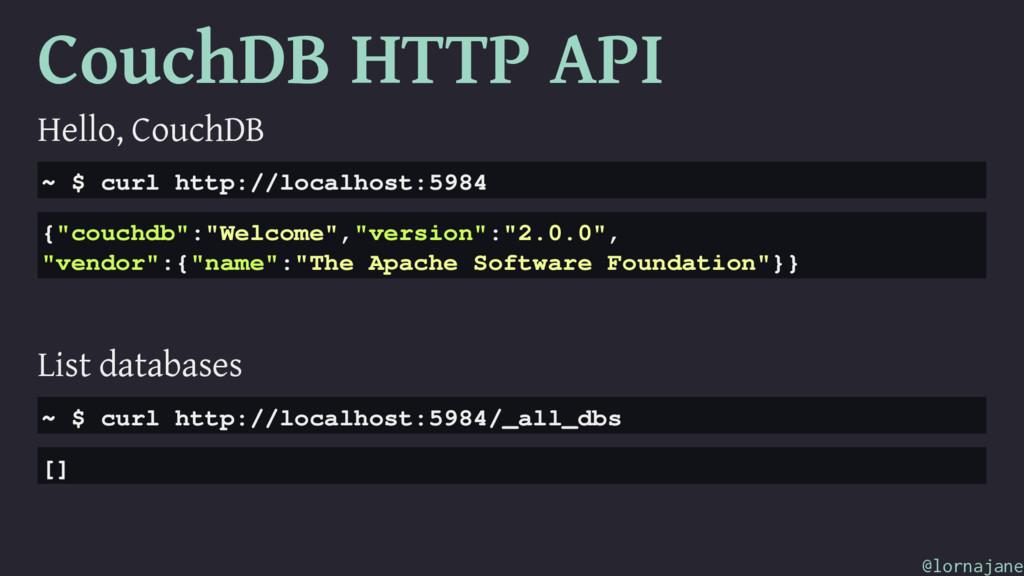 CouchDB HTTP API Hello, CouchDB ~ $ curl http:/...