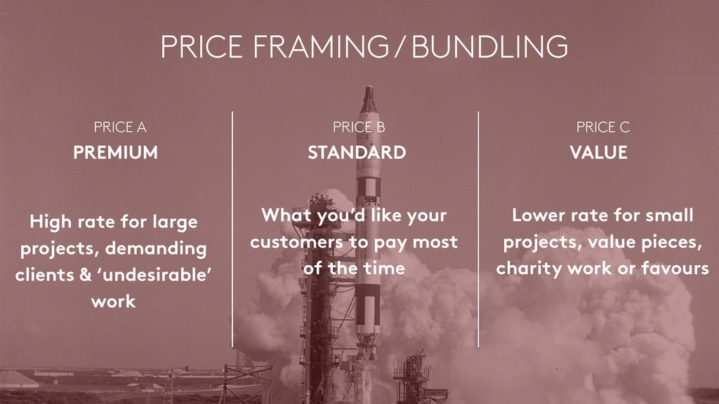 PRICE FRAMING / BUNDLING PRICE A PREMIUM PRICE...