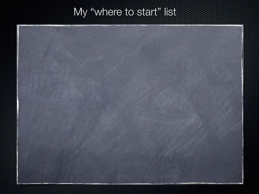 "My ""where to start"" list"