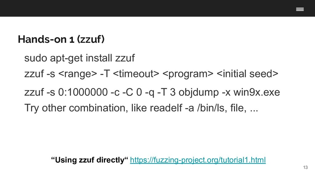 """13 Hands-on 1 (zzuf) """"Using zzuf directly"""" http..."""