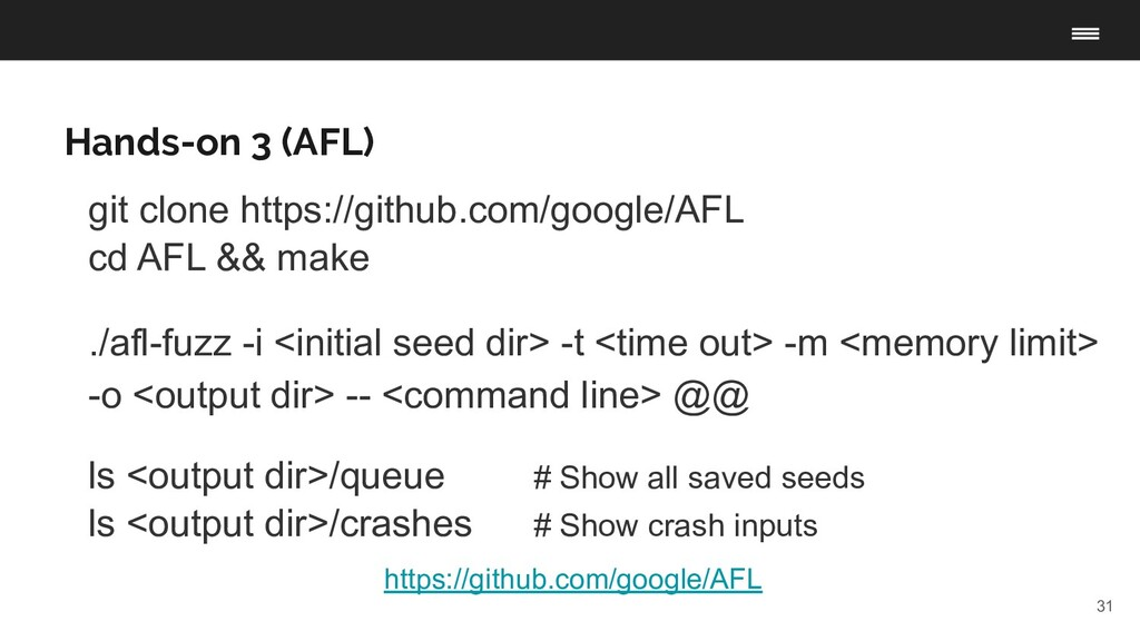 31 Hands-on 3 (AFL) https://github.com/google/A...