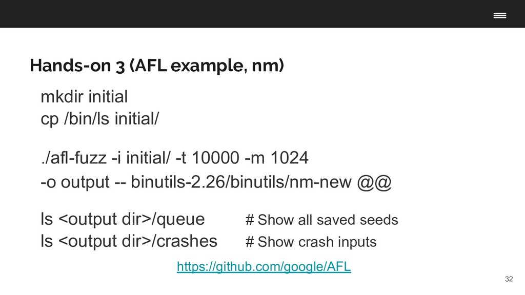 32 Hands-on 3 (AFL example, nm) https://github....