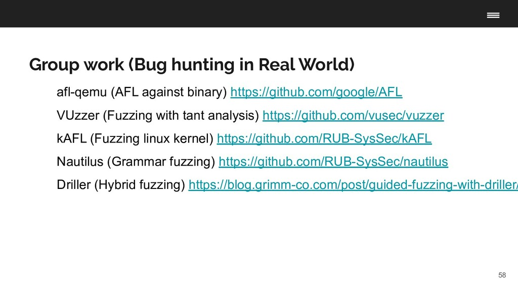 58 Group work (Bug hunting in Real World) afl-q...