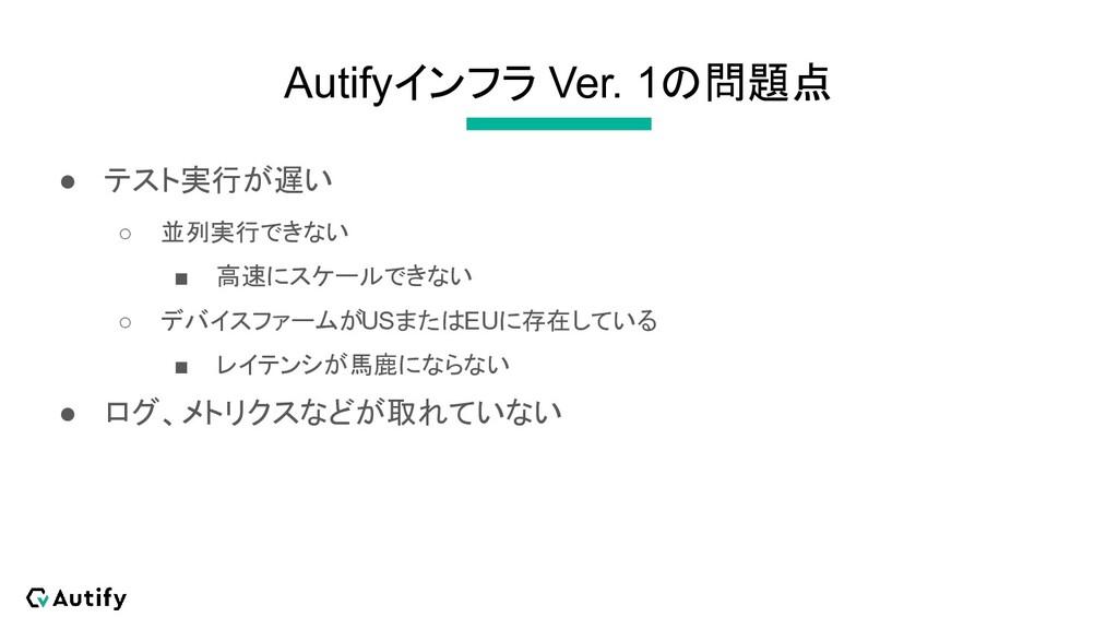 Autifyインフラ Ver. 1の問題点 ● テスト実行が遅い ○ 並列実行できない ■ 高...