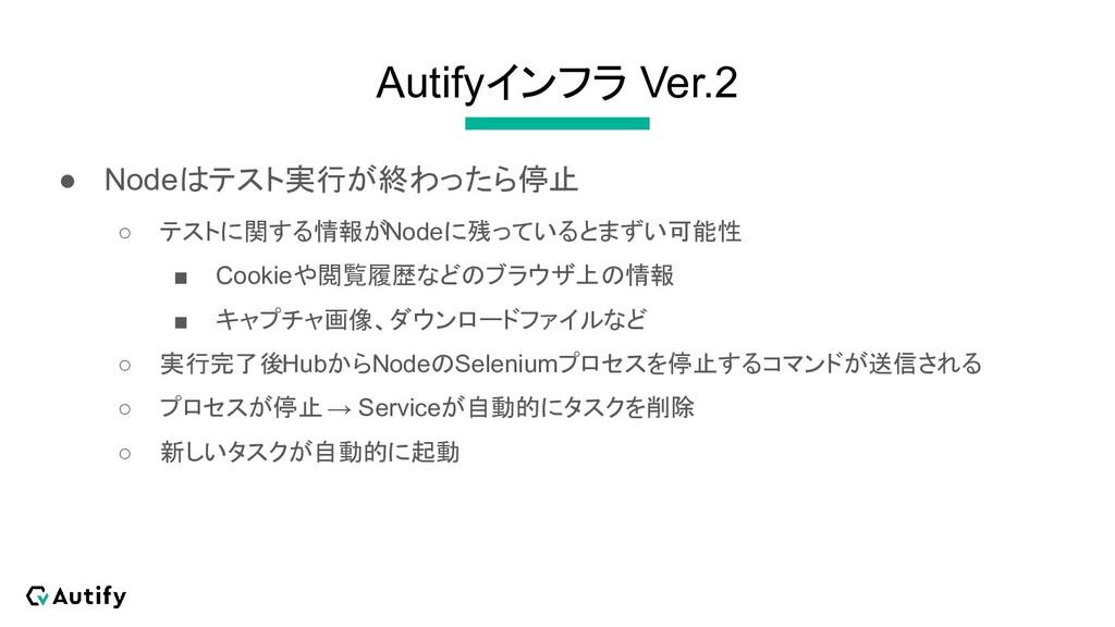 Autifyインフラ Ver.2 ● Nodeはテスト実行が終わったら停止 ○ テストに関する...