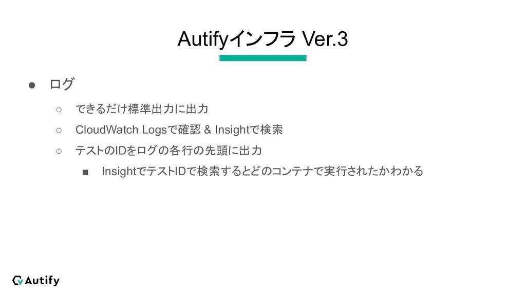 Autifyインフラ Ver.3 ● ログ ○ できるだけ標準出力に出力 ○ CloudWat...