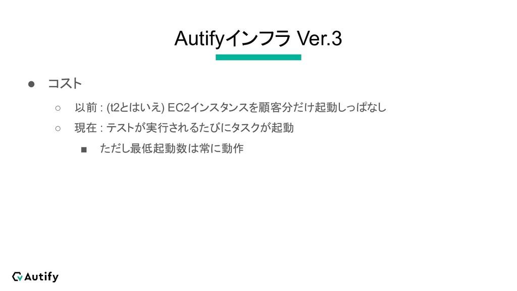 Autifyインフラ Ver.3 ● コスト ○ 以前 : (t2とはいえ) EC2インスタン...